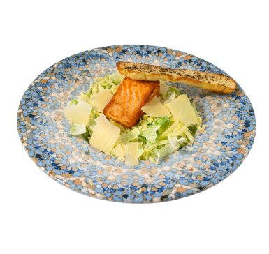Caesar Salad with grilled salmon fillet