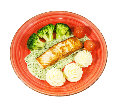 Salmon with broccoli and spinach sauce