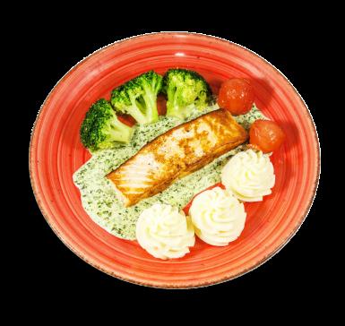 Сьомга с броколи и спаначен сос