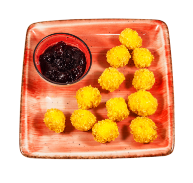 Crispy cheese with pomegranate jam