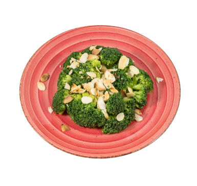 Boiled broccoli in butter and sliced almonds