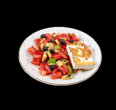 Salad with homemade sheep cheese