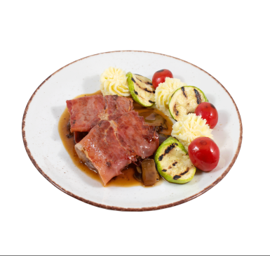 Beef with prosciutto